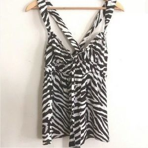 Michael Kors 100% silk top - white and brown zebra
